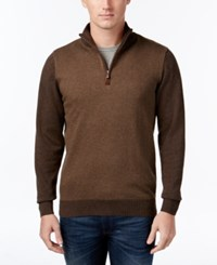 Tricots St Raphael Big And Tall Quarter Zip Faux Suede Trim Herringbone Sweater Chocolate