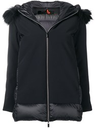 Rrd Racoon Fur Trim Hooded Jacket Black