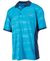 Greg Norman For Tasso Elba Men's Colorblocked Striped Performance Polo Only At Macy's Vivid Turq