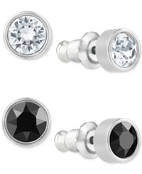 Swarovski Earring Set Clear And Black Crystal Studs Silver