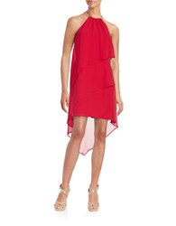 Betsy And Adam Tiered Halter Dress Red Gold