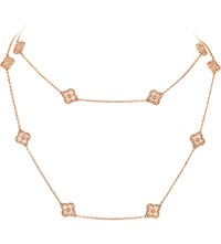 Van Cleef And Arpels Sweet Alhambra Gold Long Necklace Pink Gold