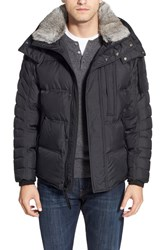 Men's Marc New York By Andrew Marc Quilted Jacket With Genuine Rabbit Fur Black