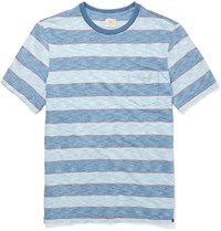 Faherty Striped Knitted Cotton T Shirt Blue