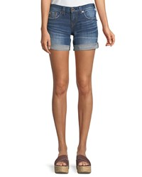 True Religion Jayde Mid Rise Rolled Hem Denim Shorts With Flap Pockets Medium Blue