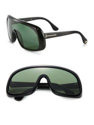 Tom Ford Injected 135Mm Shield Sunglasses Black Green