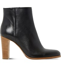 Dune Oliva Leather Ankle Boots Black Leather
