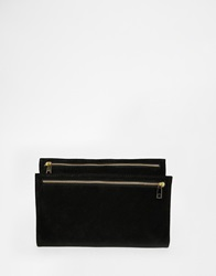 Asos Suede Fold Over Clutch Bag With Double Zips Black