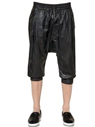 Roberto Cavalli Coated Cotton Canvas Capri Pants Black