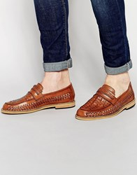 Frank Wright Woven Loafers In Tan Tan