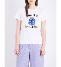 Chocoolate Milk Carton Cotton T Shirt White