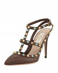 Valentino Rockstud Cabochon Leather Caged Pump Brown