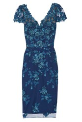 Marchesa Notte Sequin Embellished Embroidered Tulle Dress Navy