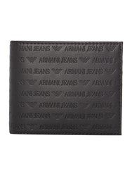 Armani Jeans Leather All Over Embossed Logo Billfold Wallet Black