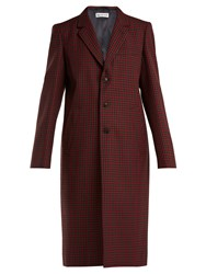 Balenciaga Single Breasted Checked Wool Coat Burgundy Multi