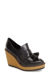 Robert Clergerie 'Astrid' Wedge Loafer Women Black Leather