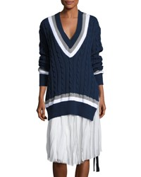 Public School Cora V Neck Oversized Cable Knit Sweater Navy