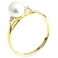 A B Davis 9Ct Gold Pearl And Diamond Ring Gold White