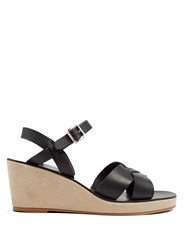 A.P.C. Classic Leather And Suede Wedges Black