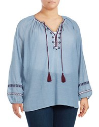 Lord And Taylor Missy Giuliette Peasant Top Blue