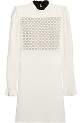 Giambattista Valli Macrame Lace Paneled Crepe Mini Dress Ivory