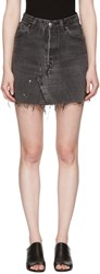 Re Done Black Denim High Rise Miniskirt