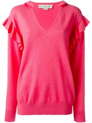 Stella Mccartney Frilled Detail Jumper Pink And Purple