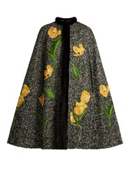 Dolce And Gabbana Tulip Applique Mink Trimmed Tweed Cape Grey Multi