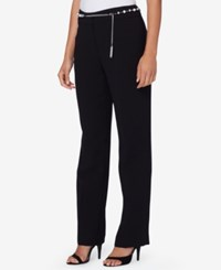 Tahari By Arthur S. Levine Asl Belted Crepe Straight Leg Trousers Black
