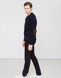 The Idle Man Fisherman Rib Knit Jumper Navy
