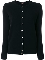 N.Peal Round Neck Contrast Button Cardigan Black
