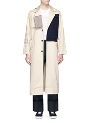 The World Is Your Oyster Houndstooth Patch Colourblock Trench Coat Neutral