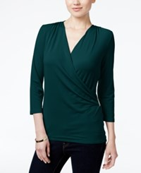 Charter Club Petite Printed Faux Wrap Top Created For Macy's Deep Pine