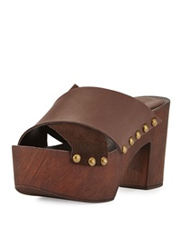 Charles David Mania Strappy Suede Leather Sandal Dark Brown