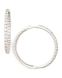 46Mm White Gold Diamond Hoop Earrings 7.57Ct Roberto Coin Red