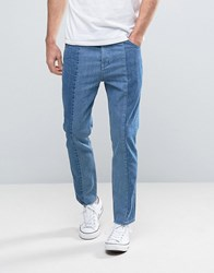Asos Bow Leg Ankle Grazer Jeans With Raw Hem Detail In Mid And Light Blue Panels Mid Wash