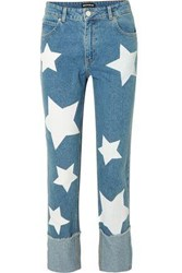 House Of Holland Woman Printed High Rise Straight Leg Jeans Mid Denim