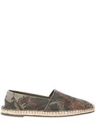 Valentino Butterfly Print Cotton Canvas Espadrille Military Green