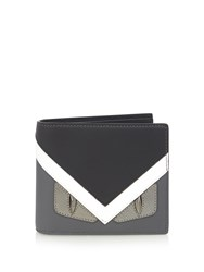 Fendi Bag Bugs Bi Fold Leather Wallet Grey Multi