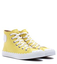 Chloe High Top Leather Sneakers Yellow