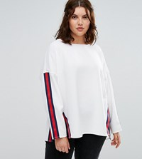 Alice And You Step Hem Sweater With Moto Trim White