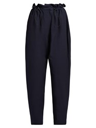 Stella Mccartney Paperbag Waist Tapered Trousers Navy