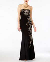 Jump Juniors' Strapless Embellished Gown Black Gold