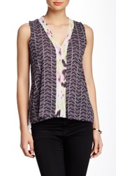 Sweet Pea Mesh Mix Print V Neck Tank Petite Black