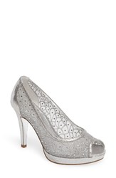 Adrianna Papell Women's 'Foxy' Crystal Embellished Peeptoe Pump Sterling Silver Fabric