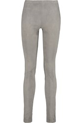 Donna Karan Suede And Cotton Blend Twill Skinny Pants Nude