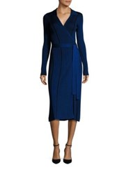 Diane Von Furstenberg Merino Wool And Silk Blend Wrap Dress French Blue Black