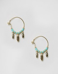 Orelia Tiny Metal Feather Bead Drop Earrings Turquoise Gold