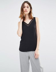 Warehouse V Neck V Back Shell Top Black
