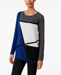 Charter Club Cashmere Colorblocked Sweater Only At Macy's Moonlight Blue